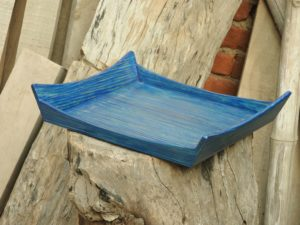 Blue Colour Wooden Tray By The Beehive India