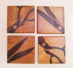 Handmade Wooden Scissor Inlay Coasters by The Beehive India
