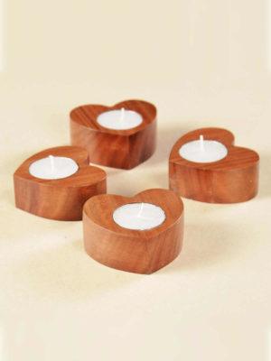 Wooden Plain Heart Tealights